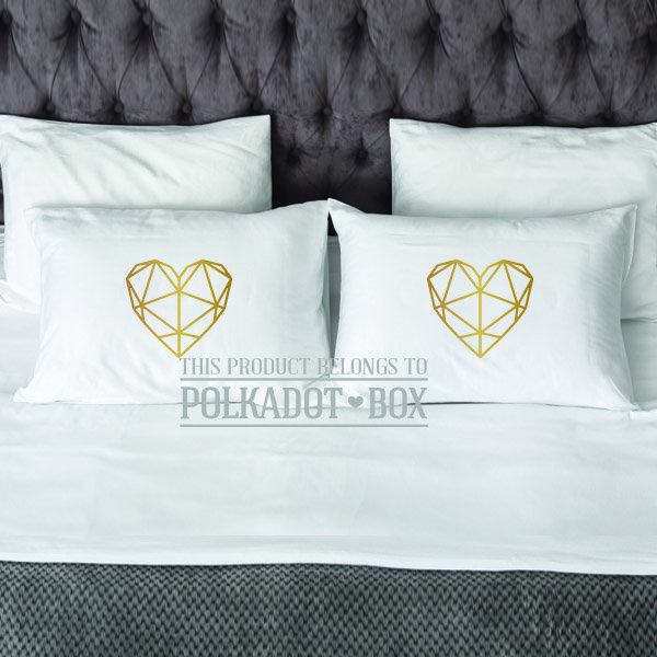 Geometric Heart Pillowcase set of 2  by Polkadot Box