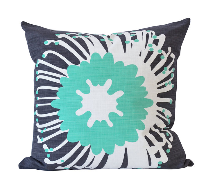 """Giant Pin"" cushion cover in aqua and caharcoal by i Spy"