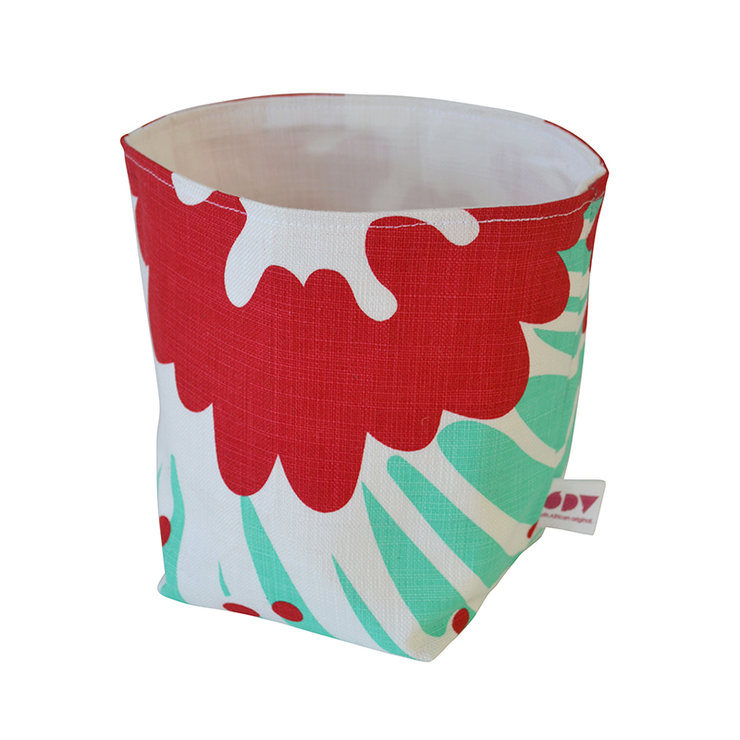"""Giant Pin"" fabric basket in raspberry and aqua by i Spy"