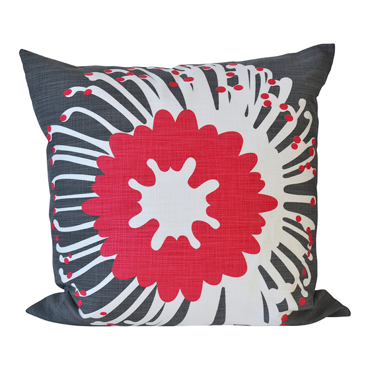 """Giant Pin"" cushion cover in raspberry and charcoal by i Spy"