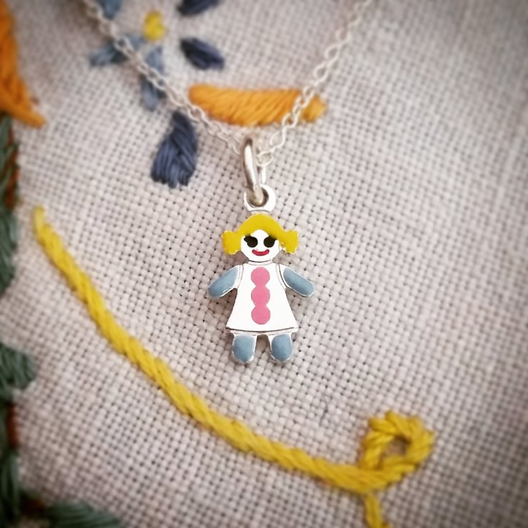 Sterling silver colorful girl necklace by GloveJewellery