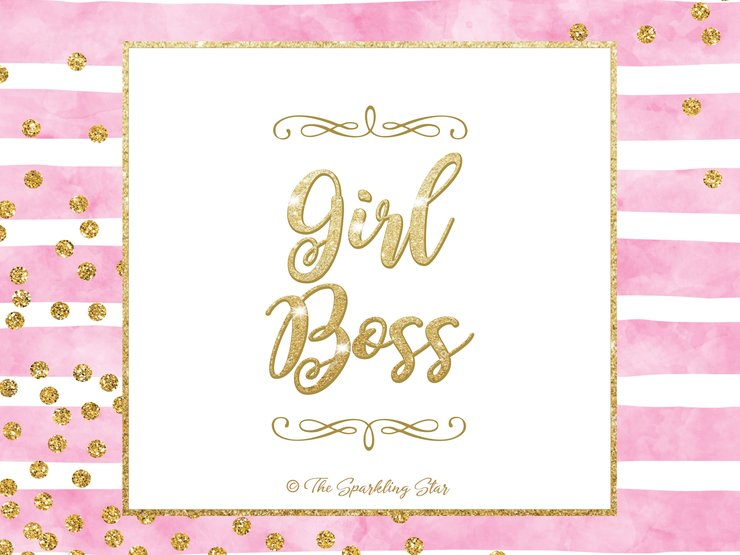 Girl Boss Pink & White Poster by The Sparkling Star
