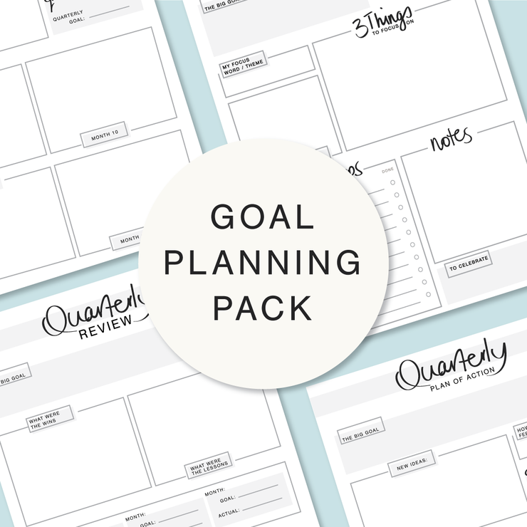Goal Planning Pack | Printable planners for your business - includes Monthly Tracker, Quarterly Review, Quarterly planner by Inspiredbyemma