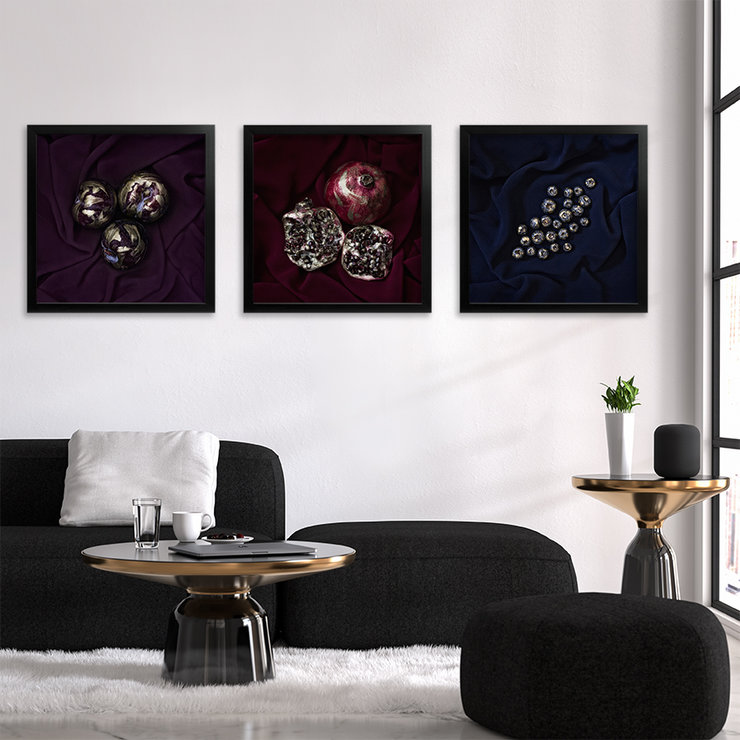 Gold Flecked Fruit Photography Print Set | 40x40cm | Wall Art | Wall Hanging | Burgundy Red Pomegranate | Purple Plum | Blueberries | Navy | Home, Office, Kitchen, Living Room, Bedroom Decor by Sonny Mo Arts