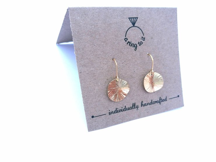 Gold plated Silver Smithing dangle earrings (small) by a ring to it