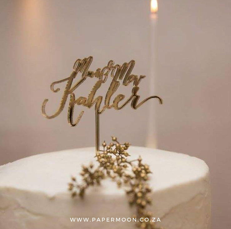 Mr & Mrs Gold Mirror Cake Topper by Papermoon
