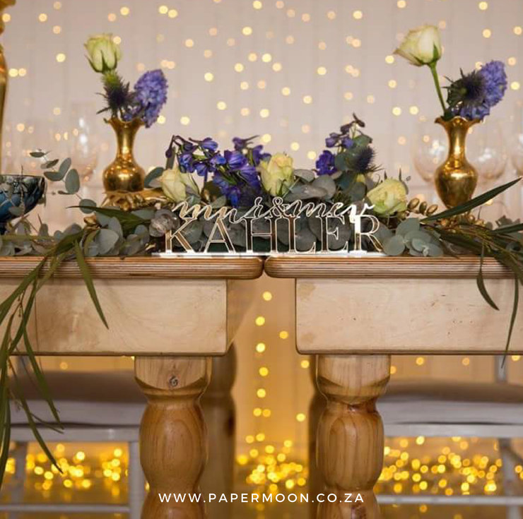 Gold Mirror Mr and Mrs Table Sign by Papermoon