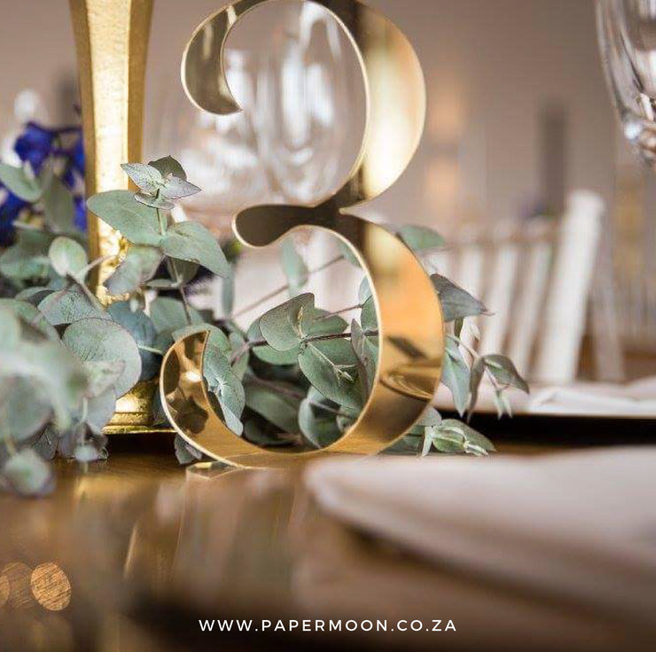 Gold Mirror Table Number by Papermoon