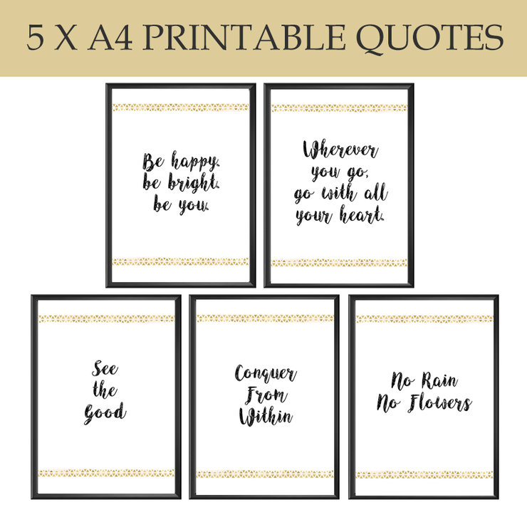 5 X Black Gold Quotes High Res A4 Hello Pretty Buy Design