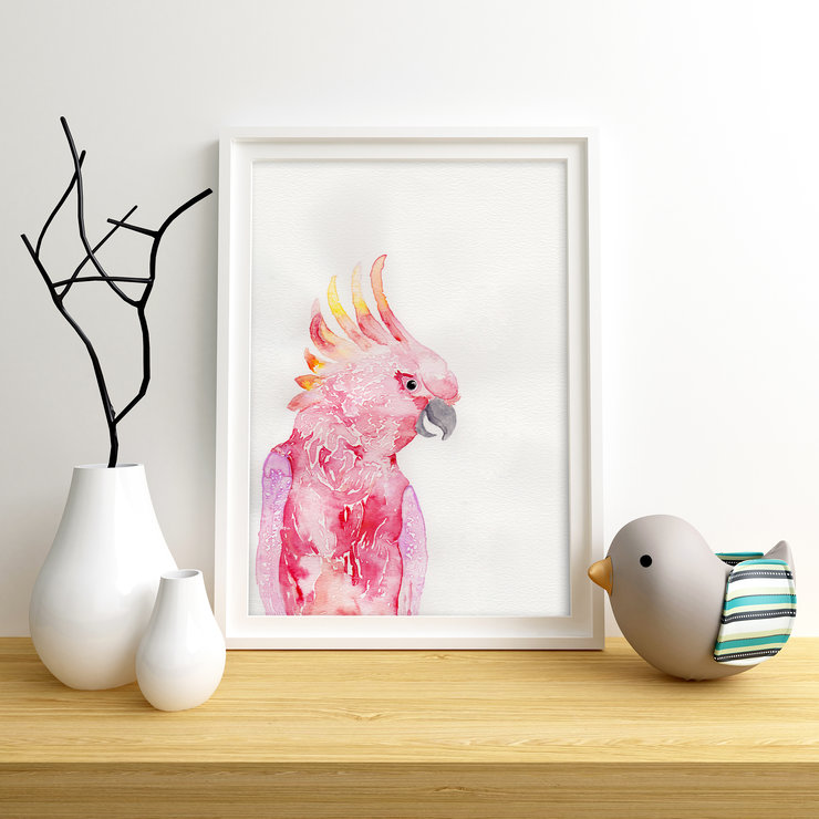 Printable Wall Art - Cockatoo Watercolour Illustration by Grace On Paper