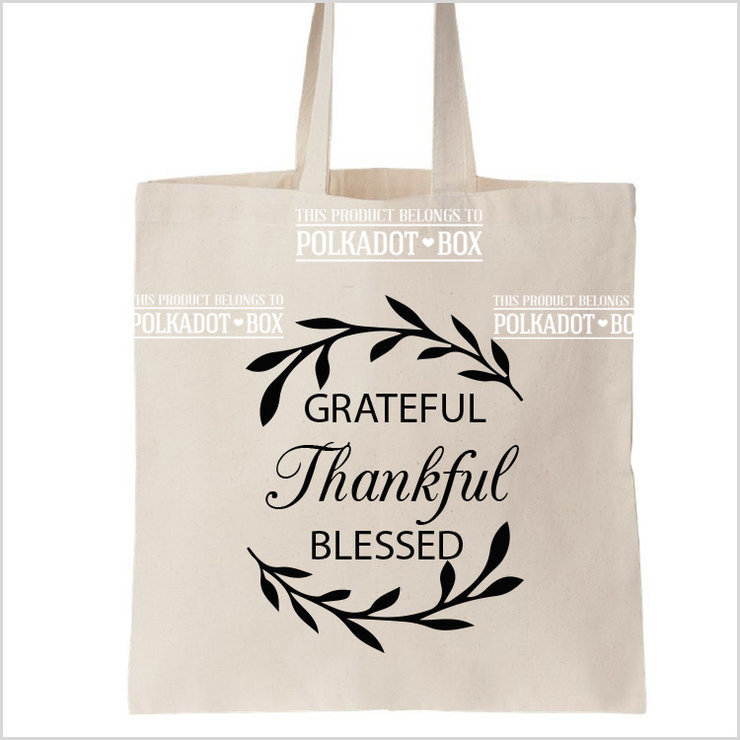 Thankful Tote Bag by Polkadot Box