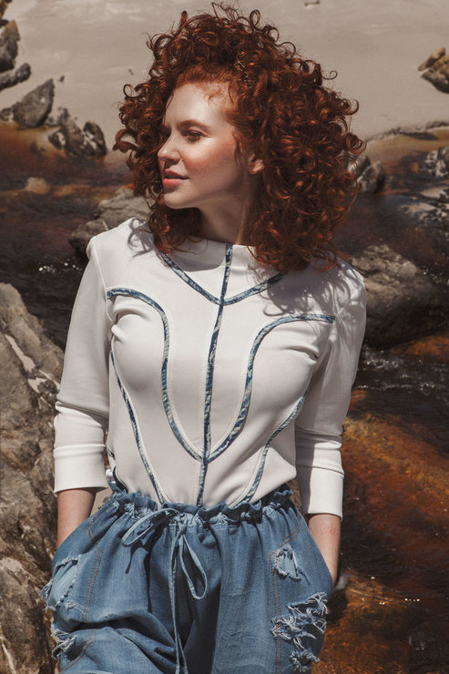 PANELED PIPED TOP by Judith Atelier