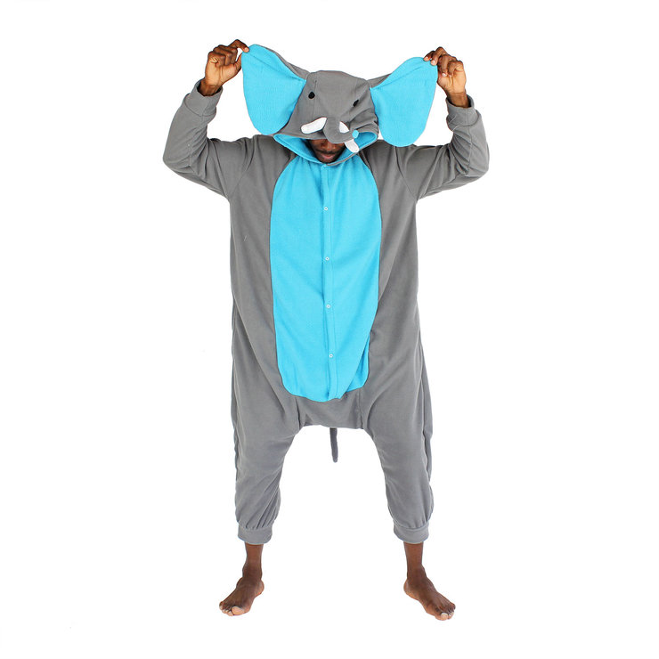 Adult Animal Onesie - Elephant (grey&blue) (Jumpsuit, Cosplay, Kigurumi) by aFREAKA Clothing
