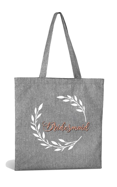 Bridesmaid Grey Cotton Tote Bag With Rose Gold by Love & Sparkles