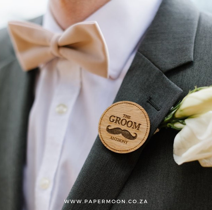 Wooden Bridal Party Badge - Mens by Papermoon