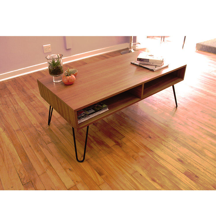 Round Wood Hairpin Coffee Table: Retro Hairpin Coffee Table By Kurve Designs