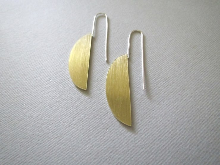 Brass Half Oval Hook Earrings by Liwo Design