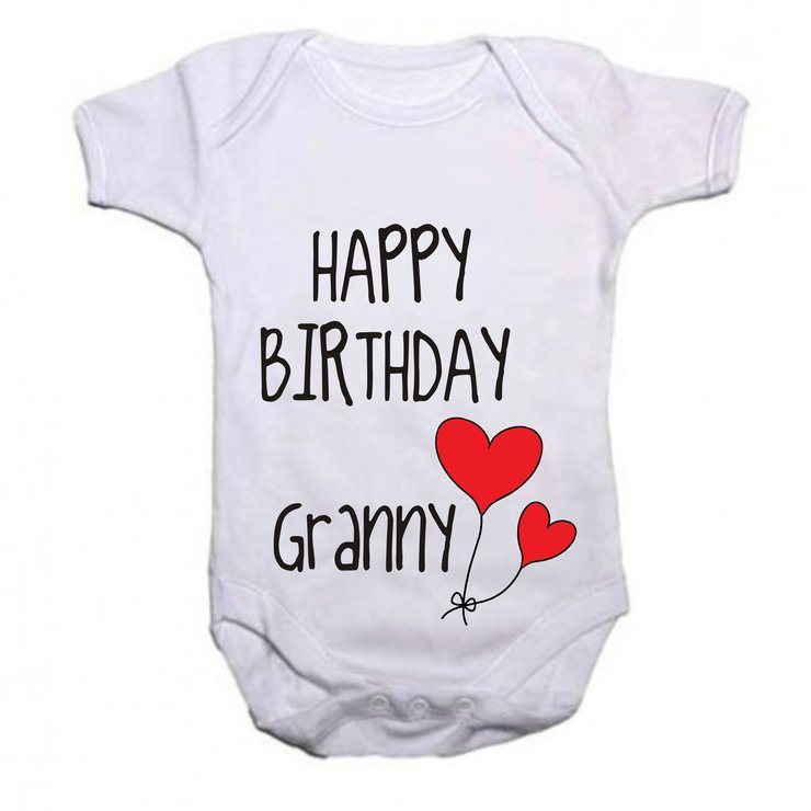 Happy Birthday Granny baby grow by Qtees Africa (Pty)Ltd