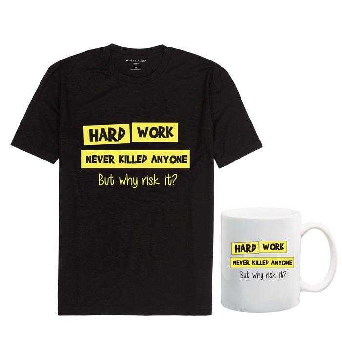 Hard work never killed anyone t-shirt and mug combo by Qtees Africa (Pty)Ltd