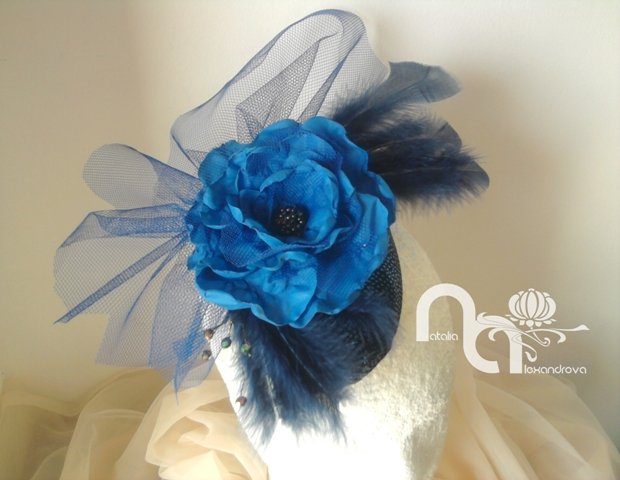Fascinator  quot Navy blue quot  from manually perforated fabric. by  Accessories by Natalia Alexandrova aa7e10ab32b