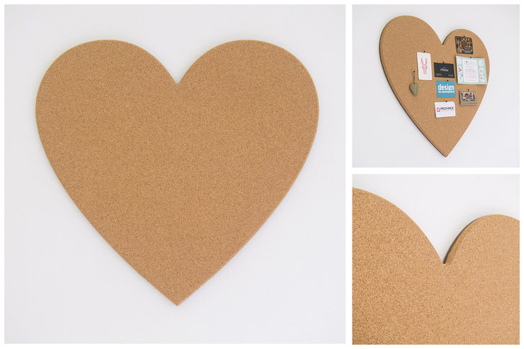 Getcork heart shaped pin board by get cork for Heart shaped bulletin board