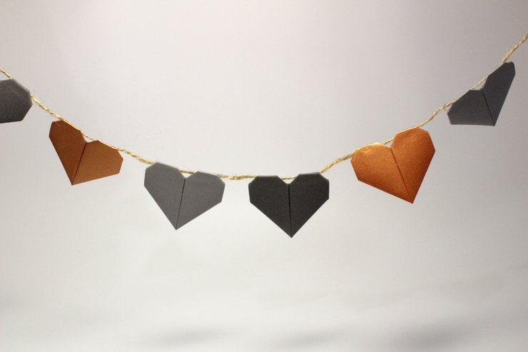 Origami Heart Bunting by Two Fold Origami