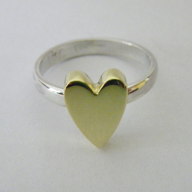 SILVER AND BRASS HEART RING by Indigo Lily Bespoke Jewellery