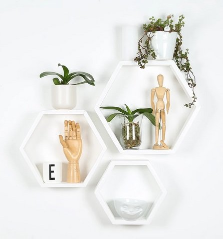 Large Hex Shelves (set of 3) by B&K Design & Decor