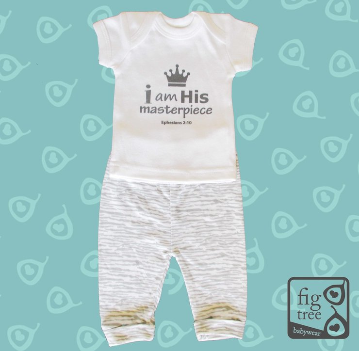 His Masterpiece Grey Set (0-3 months) by Fig Tree Babywear