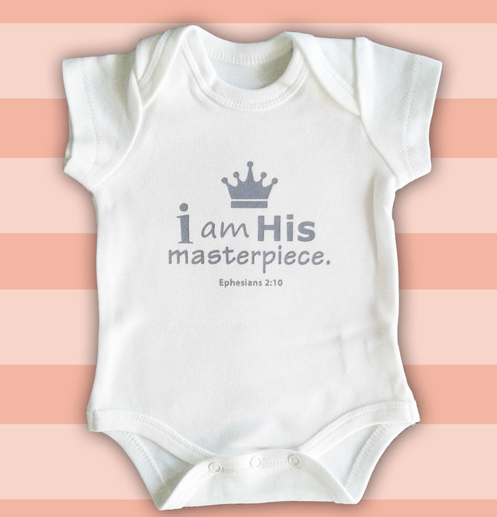 His Masterpiece White Vest (3-6 months) by Fig Tree Babywear