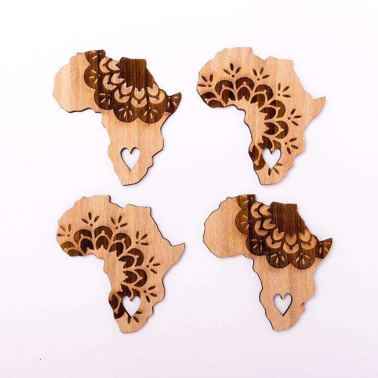 Africa Lace Bamboo Coasters by HALLO JANE