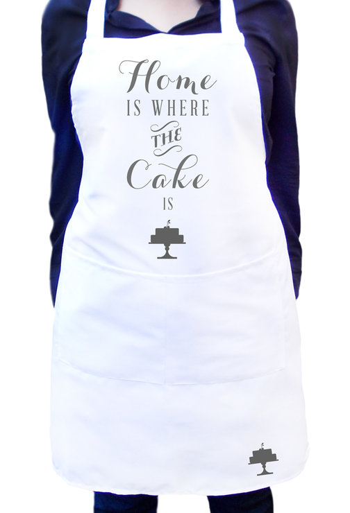 White Kitchen Apron is where the cake is, white kitchen apron with colour detail, full