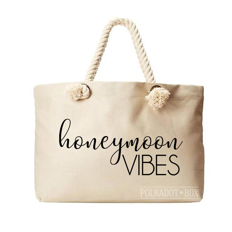 Honeymoon Vibes Beach Bag  by Polkadot Box