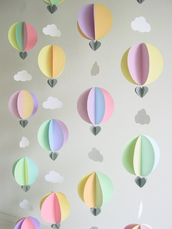 hot air balloon garland pastel colours by younghearts. Black Bedroom Furniture Sets. Home Design Ideas