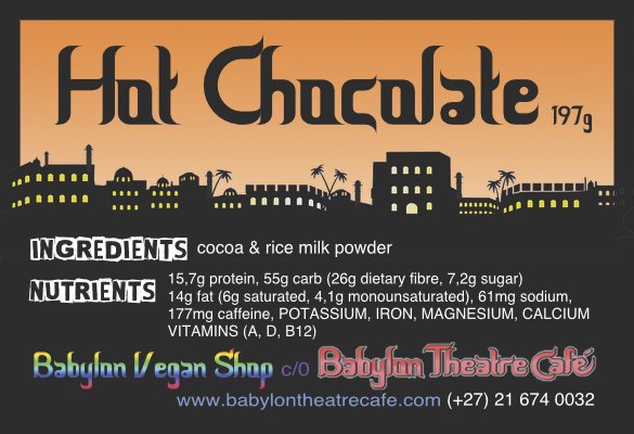 Vegan Hot Chocolate (sugar-free) MEDIUM 375ml by Babylon Vegan Shop