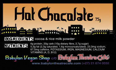 Vegan Hot Chocolate (sugar-free) SMALL 125ml by Babylon Vegan Shop