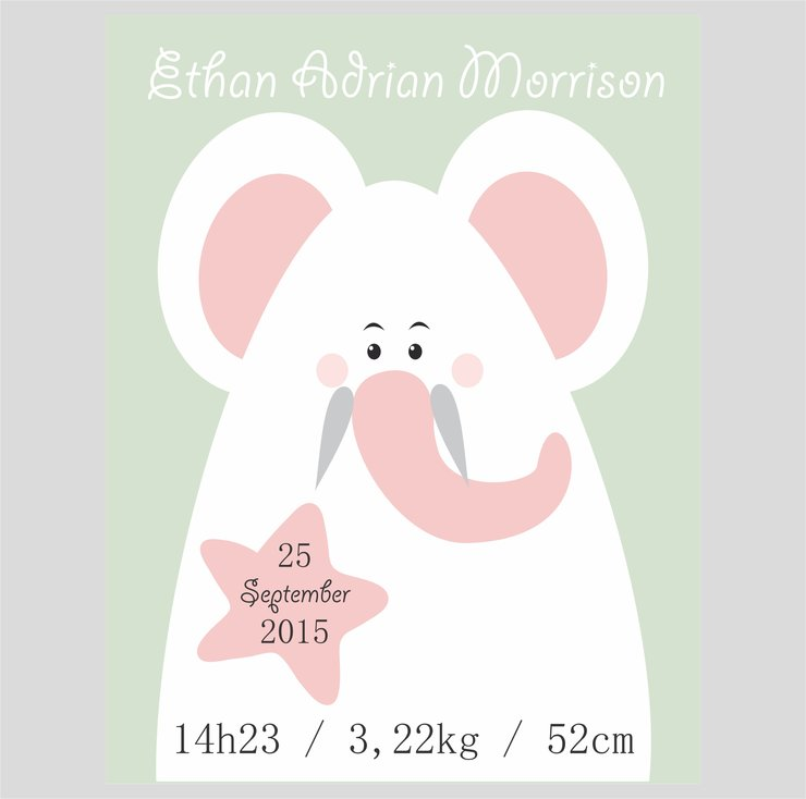 EDITABLE BIRTH INFO / BIRTH ANNOUNCEMENT PRINTABLE, ELEPHANT, MINT GREEN AND ROSE QUARTS. by hcmorrison printables