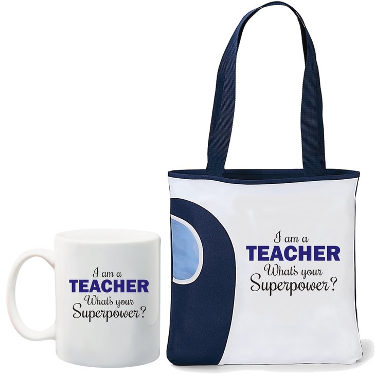 I am a teacher, what's your Superpower mug and navy tote bag by Qtees Africa (Pty)Ltd