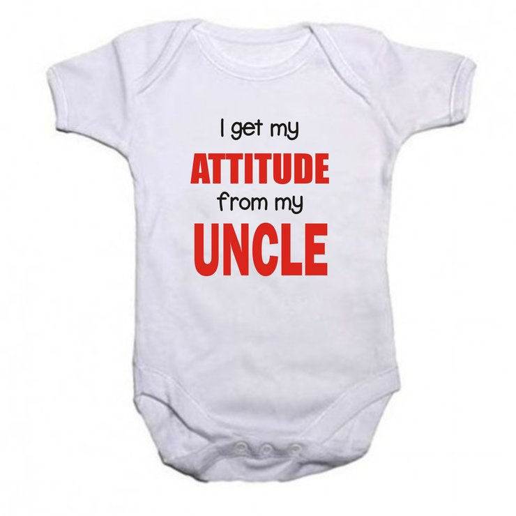 I get my attitude from my uncle baby grow by Qtees Africa (Pty)Ltd