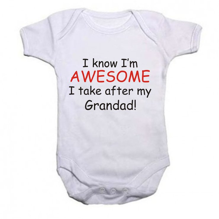 I know i'm Awesome, i take after my Grandad baby grow by Qtees Africa (Pty)Ltd