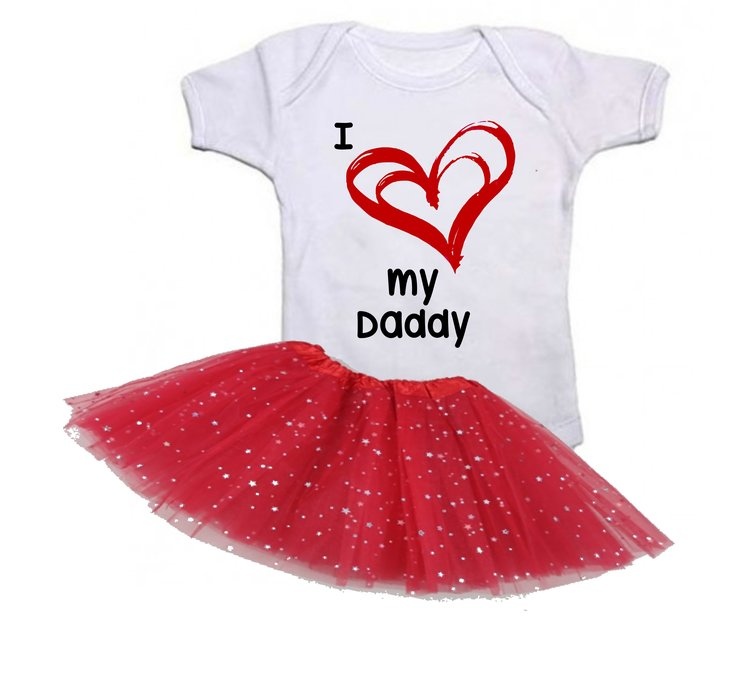 I love my Daddy baby grow with red Tutu by Qtees Africa (Pty)Ltd