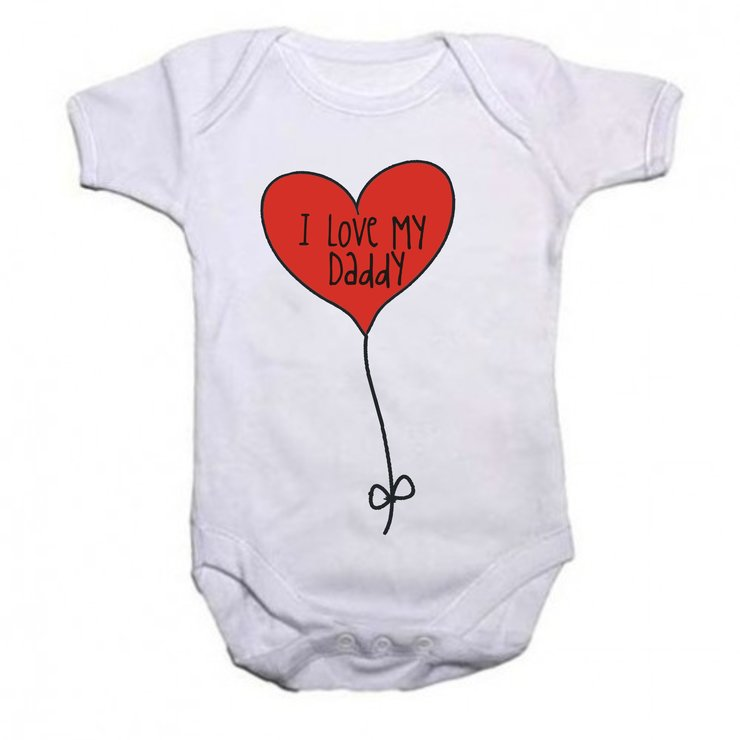 I love my Daddy - Heart Balloon baby grow by Qtees Africa (Pty)Ltd
