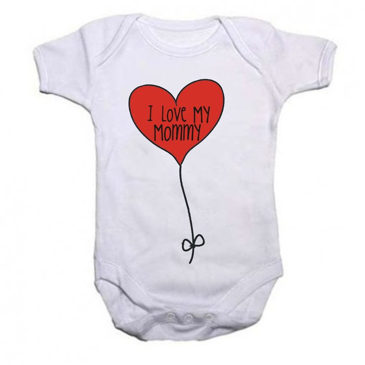I love my Mommy - Heart Balloon baby grow by Qtees Africa (Pty)Ltd