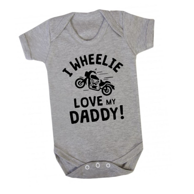 I WHEELIE Love my Daddy Baby grow onesie /Motorbike baby /  Baby Grow - Baby bodyvest - Unisex - cute onesie - Baby/ Baby Shower Gift / Father's Day by Little Lion Cub Boutique