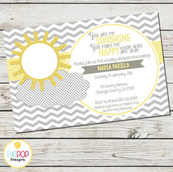 MY SUNSHINE Baby Shower Invitation You Are My Sunshine Grey Yellow Chevron Digital Printable by EyePop Designs