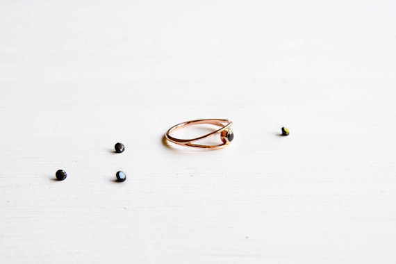Black Diamond and Rose Gold Engagement Ring - Promise Ring - love ring - dainty ring - dainty engagement ring by Chongo and Wells Silver