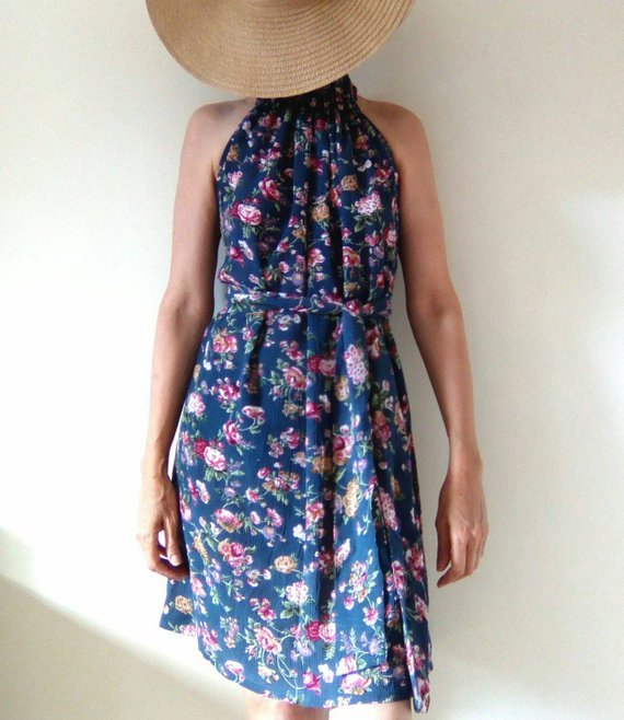 Floral dress, special occasion dress, one size fits all, maternity dress, halter neck dress, ruffled neckline, South African Shop, one of a kind by Ant At Home