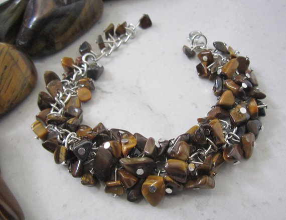 Tiger's Eye Gemstone Bracelet by SLDesignsHBJ