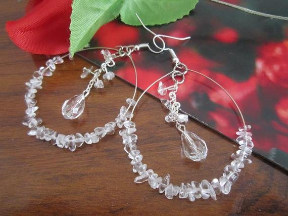 Boho Bridal Hoop Earrings, Clear Crystal Quartz, Gemstone Big Hoops, Large Hoop Earrings by SLDesignsHBJ
