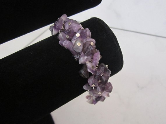Purple Amethyst Gemstone Bracelet  by SLDesignsHBJ
